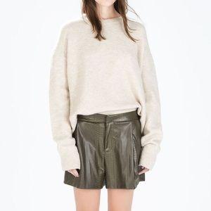 23fe1436 Zara Shorts - Zara Green Snakeskin High Waisted Shorts